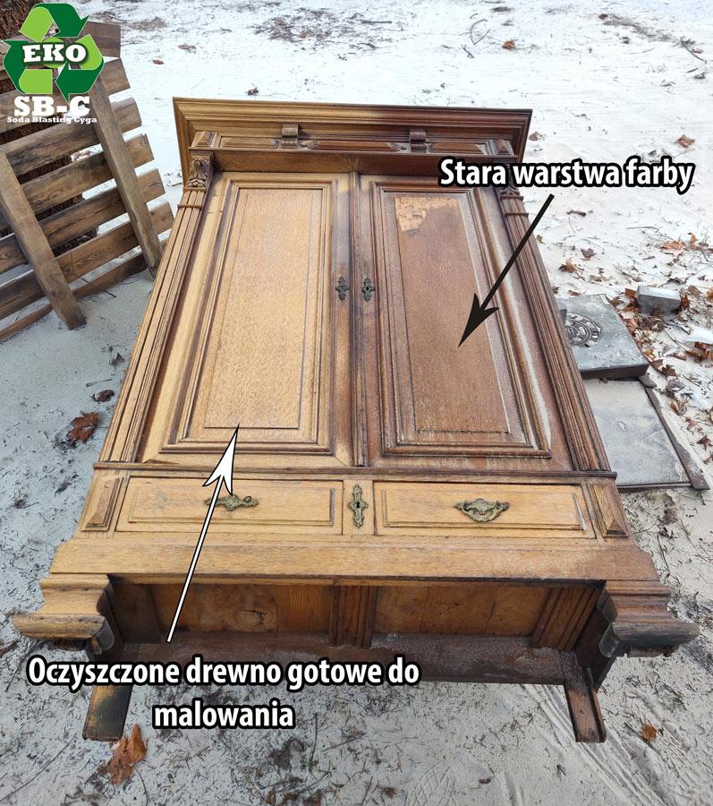 Piaskowanie_drewnianej_szafy_renowacja