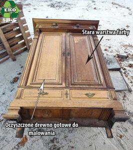 Piaskowanie drewnianej szafy